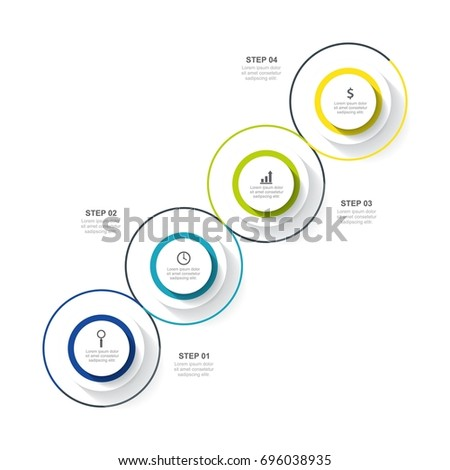 Circle infographic template four option, process or step for business #696038935