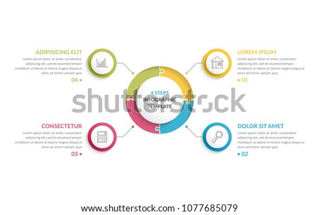 Circle infographic template with round puzzle with four steps or options, process chart, creative business infographics, vector eps10 illustration