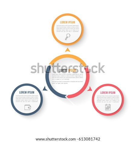 Circle infographic template with three elements, steps or options, workflow or process diagram, data vizualization, vector eps10 illustration