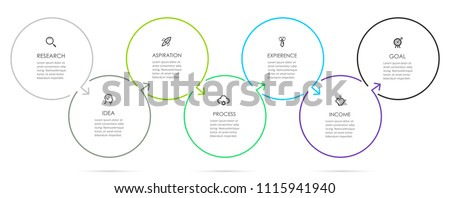 Circle Infographic thin line design with icons and 7 options or steps. Infographics for business concept. Can be used for presentations banner, workflow layout, process diagram, flow chart, info graph