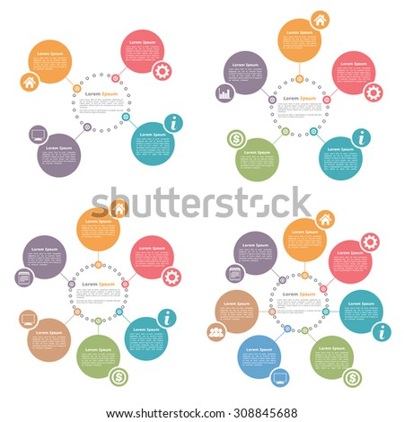 Circle infographics design templates set, four, five, six and seven steps or options, vector eps10 illustration