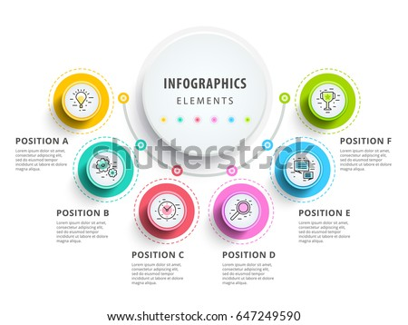 Circle infographics elements design. Abstract business workflow presentation with linear icons. 6 step on timeline or job options in 3D.. Best for commercial slideshow or website landing interface.