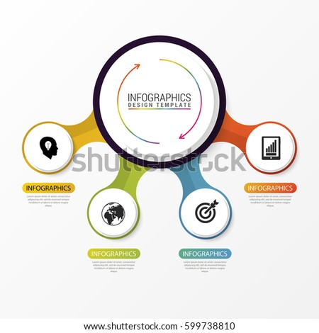 Circle infographics. Template for diagram, graph, presentation and chart. Vector illustration with 4 steps