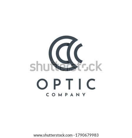 Circle Initial Letter O C OC Optic with circular simple lines logo design Foto stock ©
