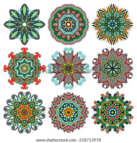 Circle lace ornament, round ornamental geometric doily pattern collection. Vector illustration