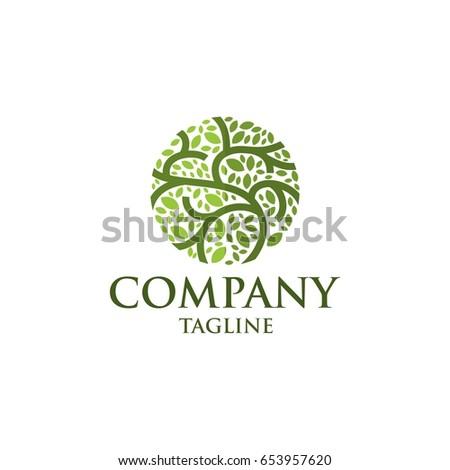 circle leaf tree vector icon