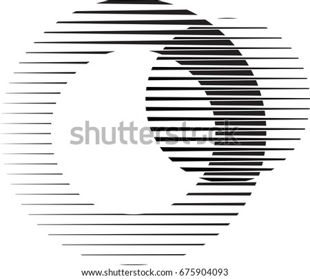 Circle Logo with lines.unusual icon Design .Background with Vector stripes .Geometric shape.