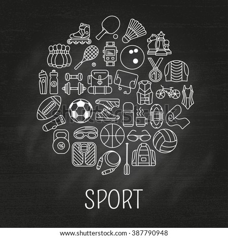 Circle made of line icons. Sport, fitness and recreation equipment. Rafting and kayaking. Info graphic elements. Simple design. Vector illustration