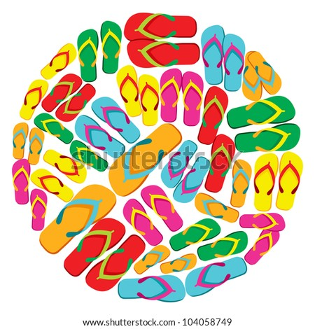 Circle made with multicolored flip flops isolated over white background. Vector file layered for easy manipulation and custom coloring.