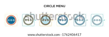 circle menu vector icon in 6
