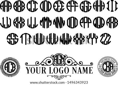 circle monogram font round