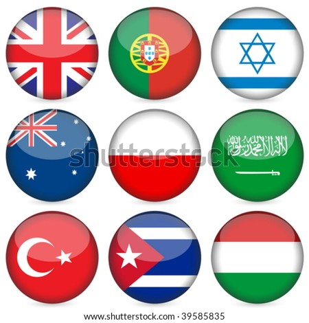 Circle national flag icon set. Vector illustration.