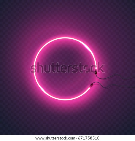 Circle neon lamp wall sign isolated on transparent background. Vector pink power glowing circle bulb banner for your design