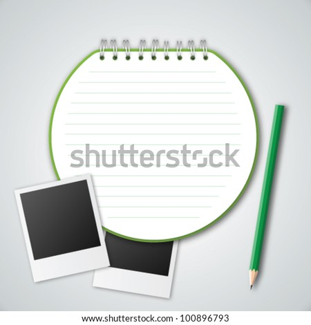 Circle Notebook ,Photo Frame and Pencil Vector