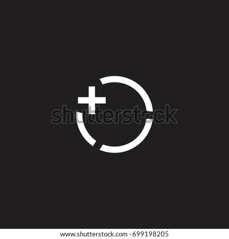 circle object with plus symbol icon vector