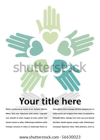 Circle of colorful hands with copy space