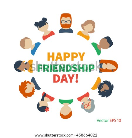 Circle of Friends avatars of different genders and nationalities as a symbol of International Friendship Day