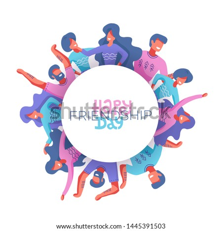 Circle of Friends avatars of different genders as a symbol of International Friendship Day.Happy friendship day greeting card. People hugging and smiling. Modern hand drawn flat isolated illustration.