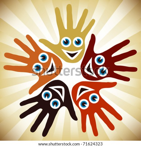 Circle of hands with happy faces.