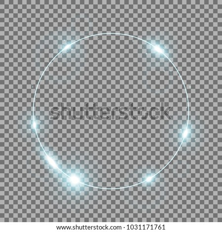 Stock Photo Circle of light, stylish lights round on transparent bacground, light effect, aqua color