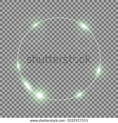 Stock Photo Circle of light, stylish lights round on transparent bacground, light effect, green color