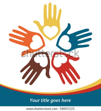Circle of loving hands with copy space vector. - stock vector