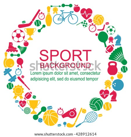 Circle of sports icons. Sport concept, background. Icons sports games. Vector #428912614