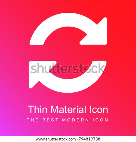 Circle of two clockwise arrows rotation red and pink gradient material white icon minimal design