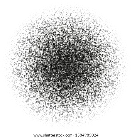 Circle of very small dissolving points, noise, gradient. The Stipple grunge. Vector object with the ability to overlay. Isolated background.