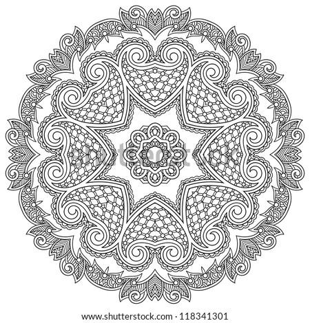 Circle ornament, black and white ornamental round lace