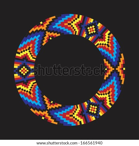 Circle ornament. Round frame, rosette. Native american (indian) round pattern, vector.