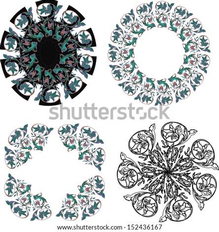 Circle  ornament, round ornamental geometric pattern