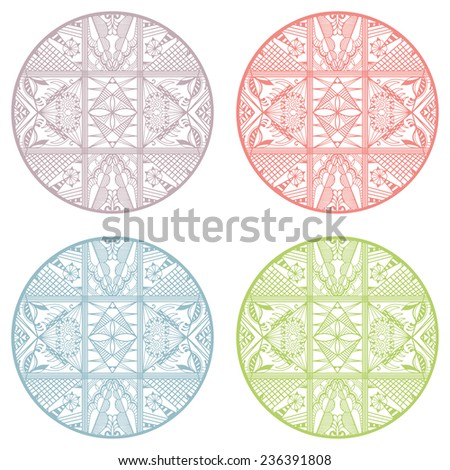 Circle ornament set, abstract decoration, detailed pattern ethnic ornament, card design elements collection