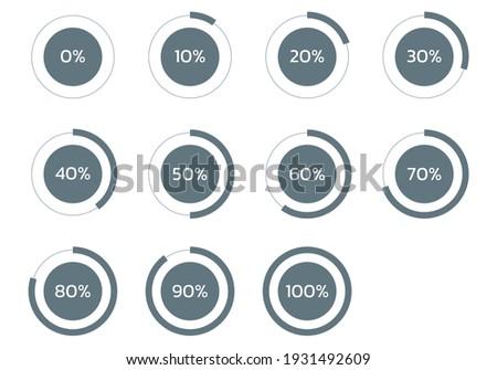 Circle percent diagram. Percentage pie chart. Progress infographic set. Business info graphic design. Vector illustration.