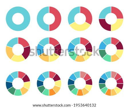 Circle pie chart. 2,3,4,5,6,7,8,9,10 11 12 sections or steps Flat process cycle Progress sectors ストックフォト ©