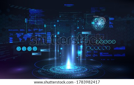 Circle presentation podium for UI, UX, KIT with HUD elements interface. Circle technology portal. Blank Hologram for show your product. Virtual reality, futuristic show presentation. Vector