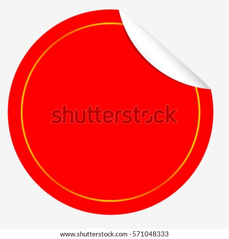 Circle Red Tag with Curl Effect and Golden List, isolated on white  #571048333
