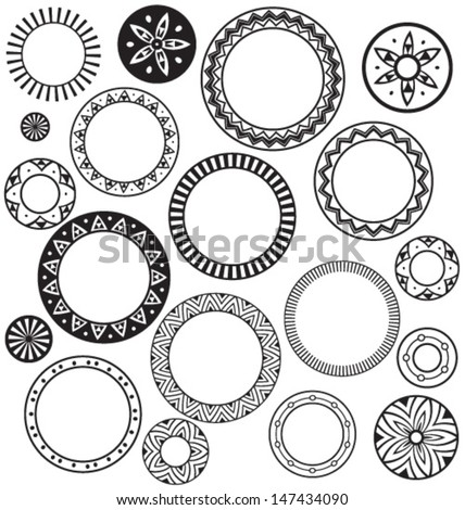 Circle & Ring Designs. Collection of nine.