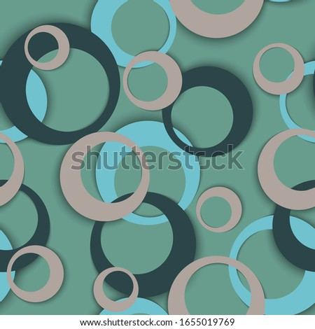 Circle rings minimal geometric seamless pattern. Bubble shapes children clothes fasion textile print. Geometric circle rings simple background design. Graphic elements ornament. Backdrop vector