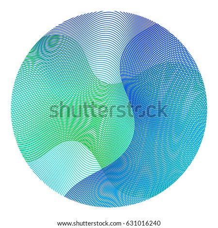 Circle ripple abstract vector illustration on white background. Round shape. Blue, aquamarine and green wavy lines circle ripple texture design.  Bright clip art pattern with colorful curves. #631016240