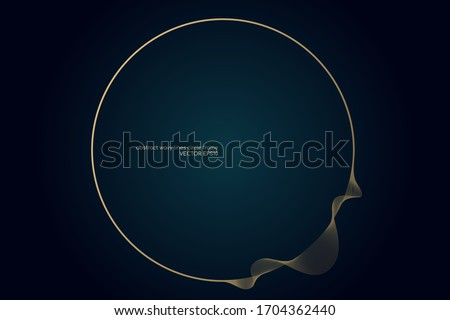 circle round frame by gold wavy