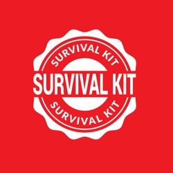circle rubber stamp with the text survival kit. sold out rubber stamp, label, badge, logo,seal