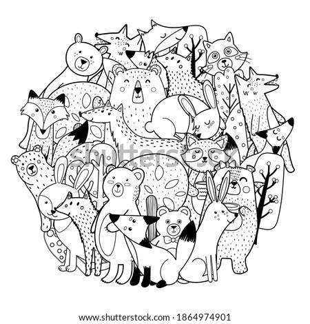Circle shape coloring page with funny forest characters. Cute woodland animals black and white print. Template for coloring book. Vector illustration