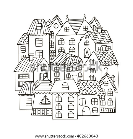 Circle shape pattern with houses for coloring book. Black and white background. Vector illustration