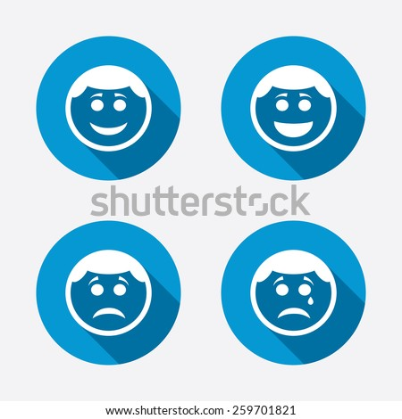 Stockshutter Circle Smile Face Icons Happy Sad Cry Signs Happy
