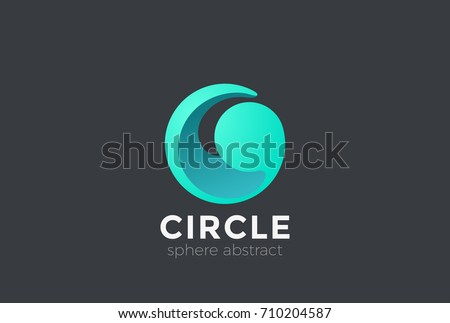 Circle Sphere Wave Logo abstract design vector template 3D style. Water drop Logotype concept icon.