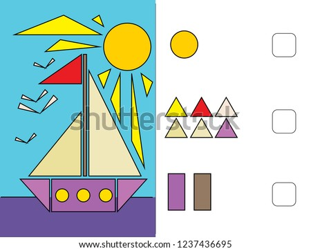 Circle, square, triangle. We learn shapes. Logic tasks for preschool children.  Puzzles for children. Workbook  for preschool education.