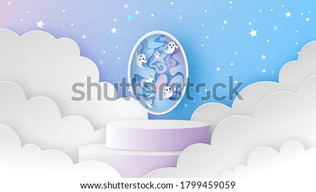 Circle stage podium scene on night sky with baby ghost spirit flying out the soul gate on Halloween. Ghost spirit in the magic gate. paper cut and craft style. vector, illustration.