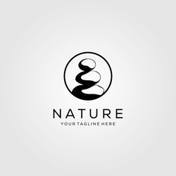 circle stone rock balancing logo spa yoga vector emblem illustration design