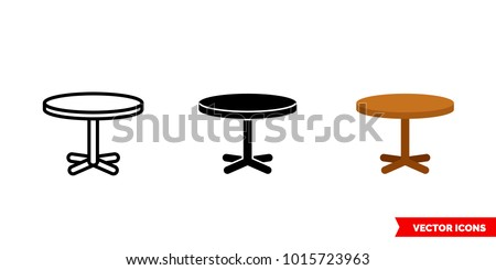 Circle table icon of 3 types: color, black and white, outline. Isolated vector sign symbol.
